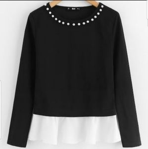 Classy Pearl Beading Neck Contrast Trip Top